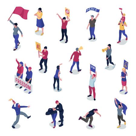Protester les gens avec des pancartes et des drapeaux pendant la manifestation ou le piquetage ensemble d'icônes isométriques isolé illustration vectorielle Vecteurs