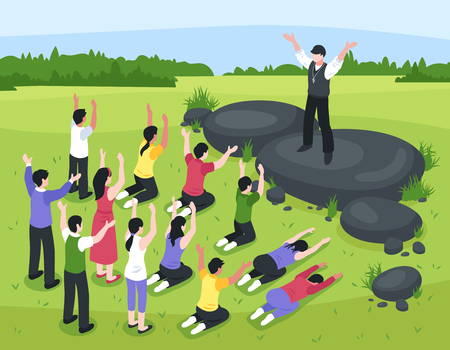 Isometric religious cult composition with outdoor landscape and group of people prostrating themselves before their leader vector illustration