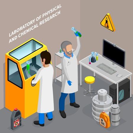 Zwei Wissenschaftler, die Öl in der isometrischen Vektorillustration des chemischen Labors 3d erforschen Vektorgrafik