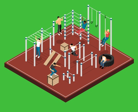 Athletic field on green background with men on various sports facilities during workout isometric vector illustration