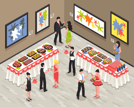 Banquet room with guests staff food and drinks on tables walls with bright pictures isometric vector illustration