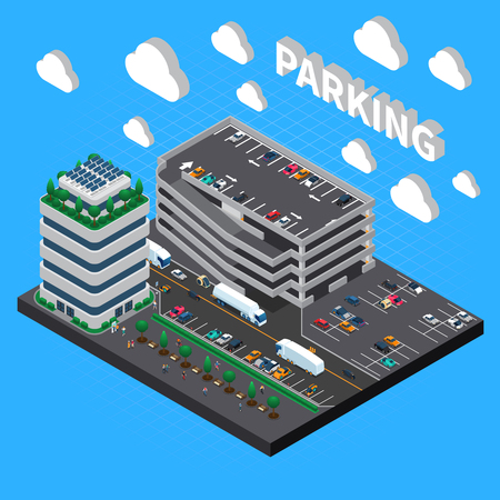 Multistorey garage structure multilevel car parking building with indoor stacked and outdoor lots isometric composition vector illustration