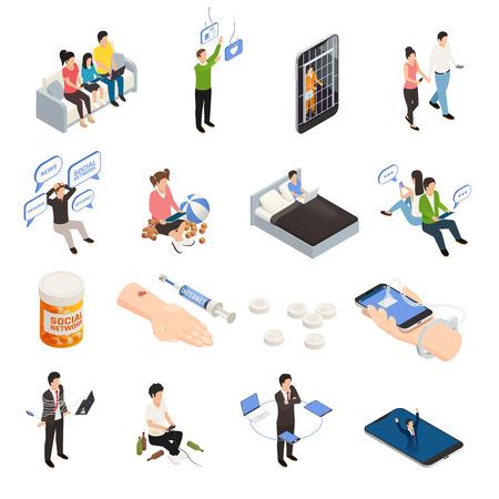 Icônes isométriques de dépendance Internet smartphone gadget sertie de dispositifs électroniques de caractères humains et pictogrammes figuratifs de dépendance vector illustration