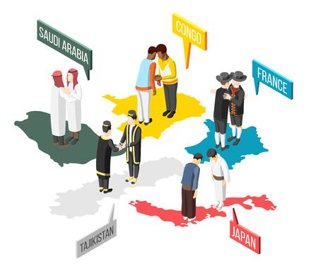 Salutations des gens de l'Arabie saoudite Congo France Japon et Tadjikistan composition isométrique 3d illustration vectorielle Vecteurs