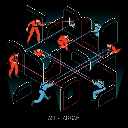Laser tag real action kids team game isometric composition with players firing infrared sensitive targets vector illustration