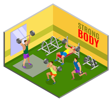 Athletes with weight equipment during body building workout in gym isometric composition vector illustration