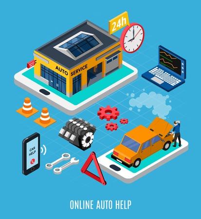 Online auto help isometric concept with diagnostics symbols vector illustration Banque d'images - 108742769
