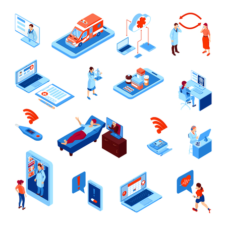 Online medicine isometric set with electronic devices for health monitoring and communication with doctor isolated vector illustration