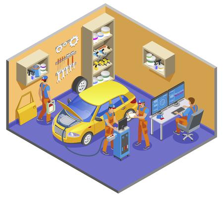 Auto service isometric composition with diagnostics and repair symbols vector illustration Ilustração Vetorial