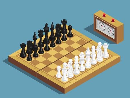 Juego de ajedrez que comienza la composición isométrica con el reloj 16, cada pieza blanca y negra en la ilustración de vector de tablero de ajedrez