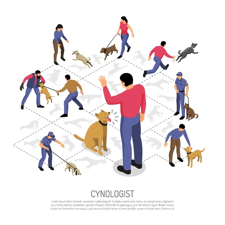 Cynologyst dog training isometric infographic composition with police service specific tasks commands responding isometric design vector illustration