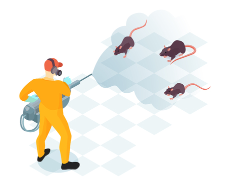 Worker of pest control service with professional equipment during domestic disinfection from rodents isometric vector illustration Stok Fotoğraf - 109732696