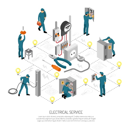 Isometric electrician composition with editable text lines icons and isolated images of linesmen doing various works vector illustration
