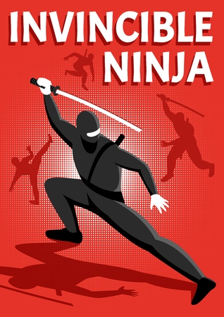 Invincible ninja warrior isometric shiny red background poster with popular online  action packed game character vector illustration
