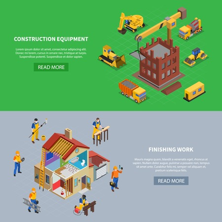 Set of two construction isometric banners with read more button text and building related image compositions vector illustration