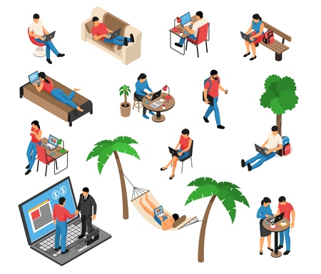 Freelancer remote creative job under tree in hammock home on sofa with laptop isometric set vector illustration 向量圖像