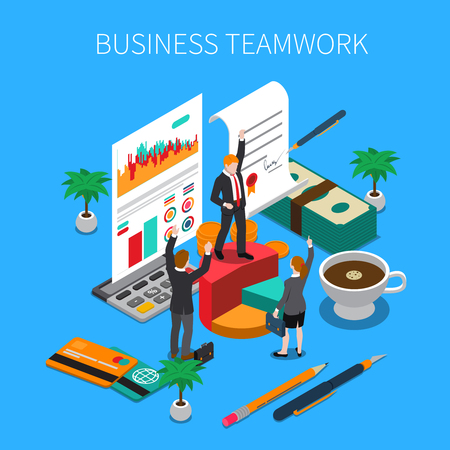 Business teamwork isometric concept with ideas work and progress symbols vector illustration