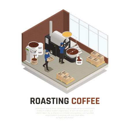 Coffee industry production isometric composition with editable text and indoor view of coffee roasting manufactory house vector illustration