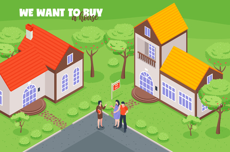 Real estate agent with clients buyers during viewing of house for sale isometric vector illustration