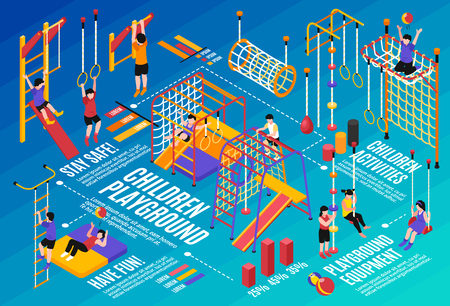 Children sport complex horizontal composition of isometric icons gymnastic apparatus images kids characters and text phrases vector illustration Banque d'images - 109732706