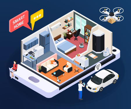 Smart home concept with room design and household symbols isometric vector illustration