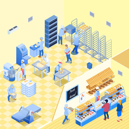 Bakery inside with staff during work and shop with bread pastry and customers isometric vector illustration Illustration