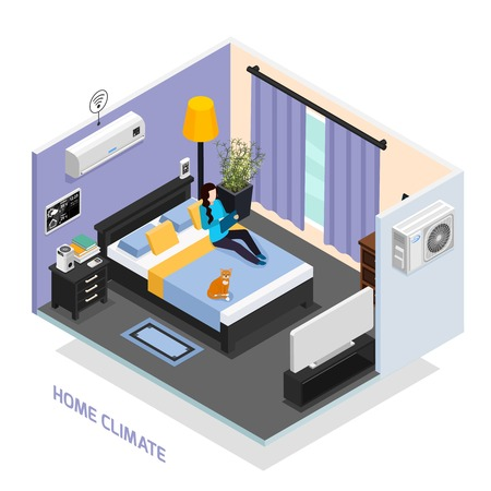 Home climate remote controlled system isometric composition with sleeping room interior weather station air conditioner vector illustration