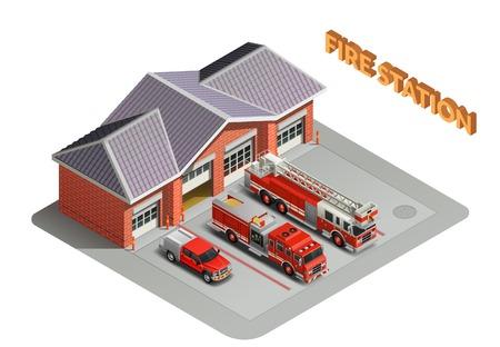 Estación de bomberos transporte motores de garaje composición isométrica realista con construcción y camiones vehículos electrodomésticos ilustración vectorial al aire libre