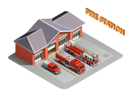 Fire station transport garage engines realistic isometric composition with building and trucks vehicles appliances outdoor vector illustration