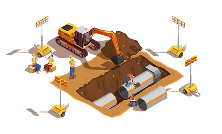 Builders with construction vehicle and lighting equipment during laying of pipes isometric composition vector illustration