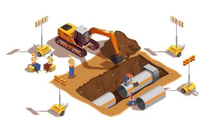 Constructores con vehículos de construcción y equipos de iluminación durante la colocación de tuberías ilustración de vector de composición isométrica