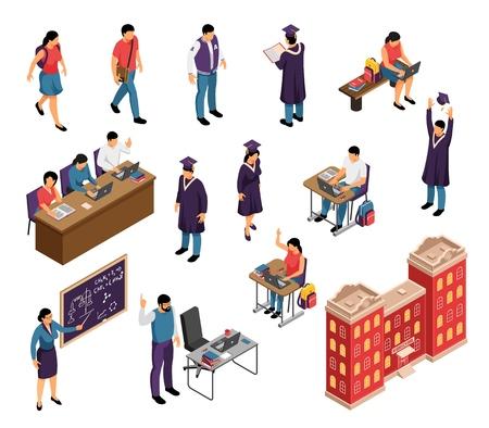Icônes isométriques de l'éducation sertie de tuteurs privés étudiants universitaires professeurs enseignants conférences diplôme bâtiment isolé illustration vectorielle