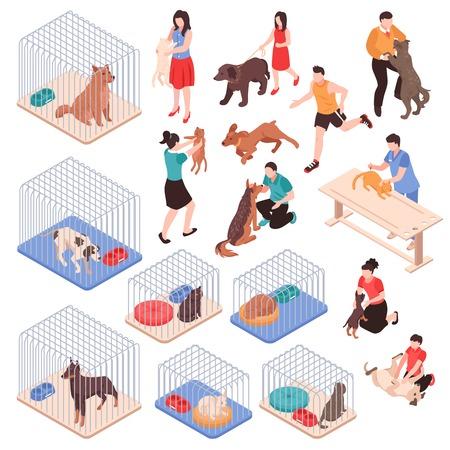 Refugio de animales con perros y gatos en jaulas personajes humanos con mascotas conjunto isométrico aislado ilustración vectorial