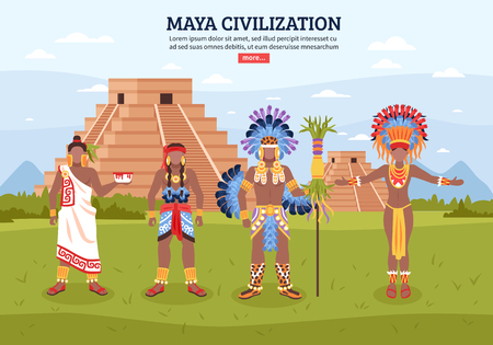 Maya civilization background composition with flat human characters editable text pyramid buildings and read more button vector illustration