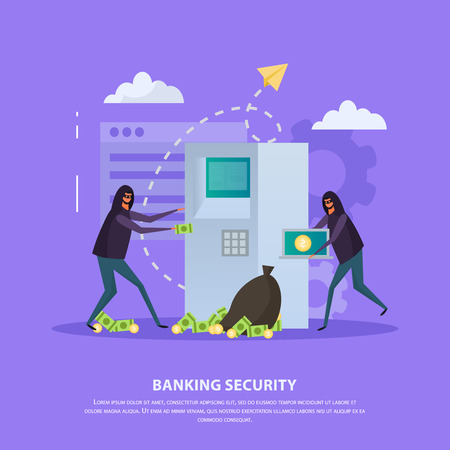 Banking security flat composition with hackers during atm robbery on violet background vector illustration
