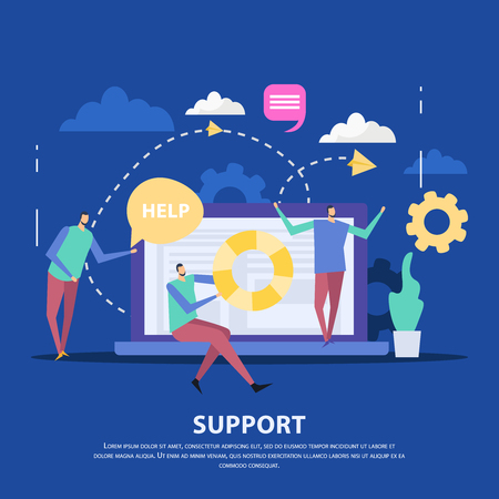 Specialists of customer support center and laptop as communication device on blue background flat vector illustration
