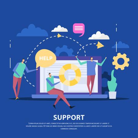 Spezialisten des Kundendienstzentrums und des Laptops als Kommunikationsgerät auf flacher Vektorillustration des blauen Hintergrundes Vektorgrafik