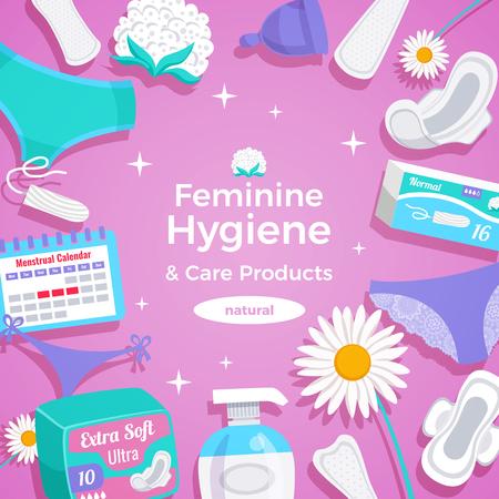 Weibliche Hygiene Naturprodukte flache quadratische Rahmen Zusammensetzung mit Pads Höschen Liner Tampons Menstruationstasse