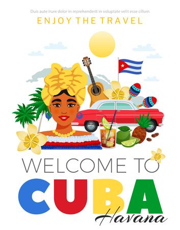 Kuba und Havanna-Reiseplakat mit flacher Vektorillustration der Leute und der Küchensymbole