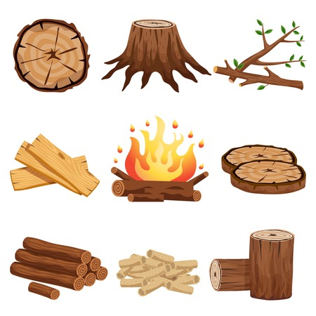 Firewood flat elements collection with tree stump branches cut logs circular segments planks campfire isolated vector illustration