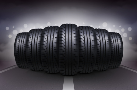 Night roadway realistic background with car tires having identical tread pattern vector illustration