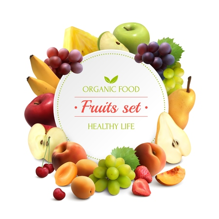 Fondo colorido de alimentos orgánicos con marco de frutas y lugar redondo para texto ilustración vectorial realista