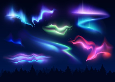 Northern lights realistic set of polar phenomenon with different shapes and colors vector illustration
