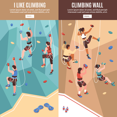 Isometric climbing wall banners set with read more buttons text and view of artificial rock walls vector illustration