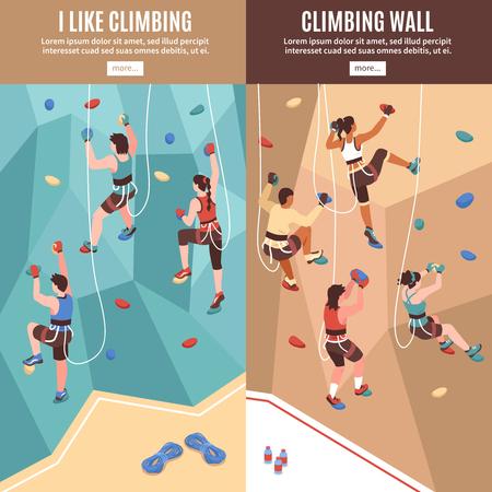 Isometrische Kletterwandfahnen eingestellt mit lesen Sie mehr Schaltflächentext und Ansicht der künstlichen Felswandvektorillustration