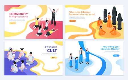 Isometric religious cult design concept with collection of four banners with artwork images and editable text vector illustration Illustration