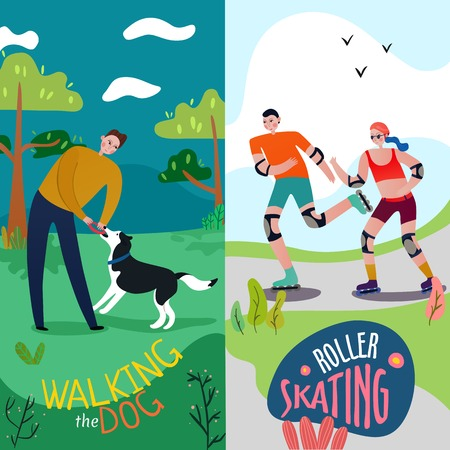 Park rest vertical banners set with walking the dog symbols flat isolated vector illustration Illustration