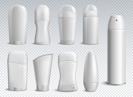 Realistic white deodorant bottles set of different shapes on transparent background isolated vector illustration