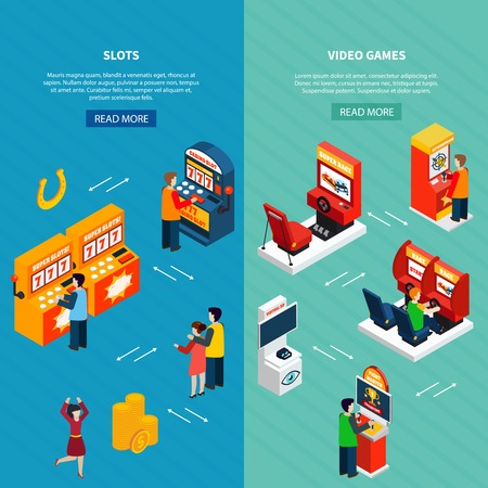 Vertical isometric banners set with people playing video casino racing shooter game machines 3d isolated vector illustration Ilustração