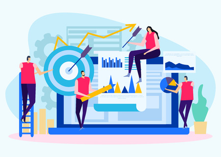 Analysis of business objectives flat background with human characters target with arrow and charts vector illustration